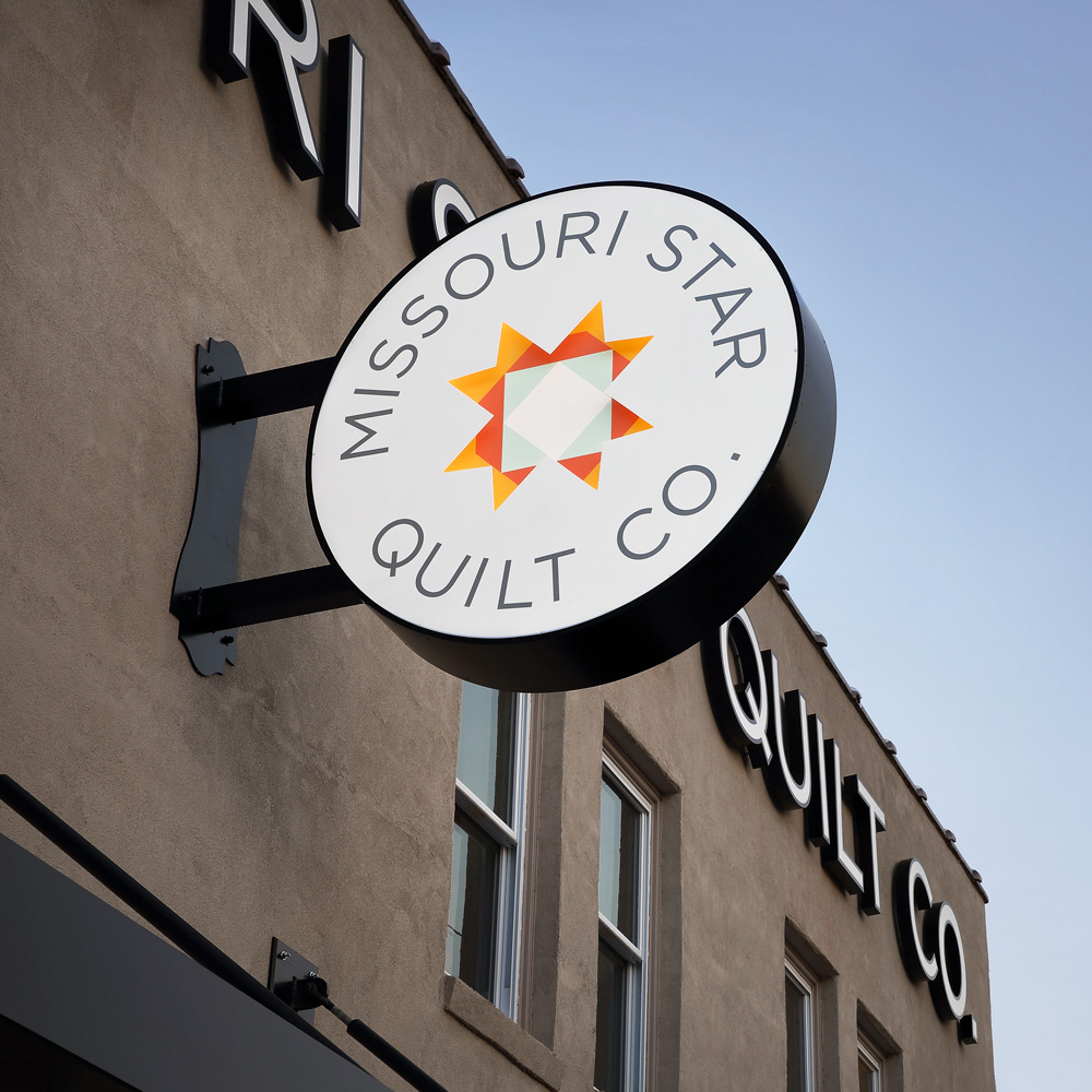 The sign for Missouri Star Quilt Company's Main Shop in Hamilton Missouri.