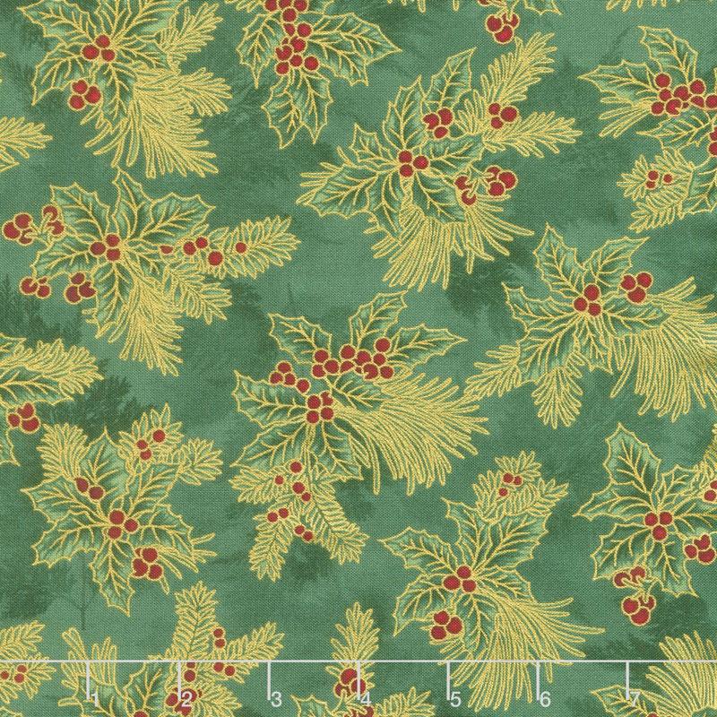 Holiday Flourish 12 - Boughs Green Metallic Yardage