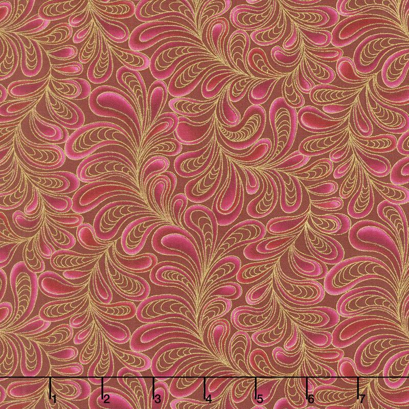 Cat - i - tude - Feather Frolic Raspberry Yardage
