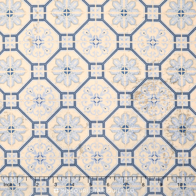 Eclectic Elements - Wallflower Mosaic Blue Yardage
