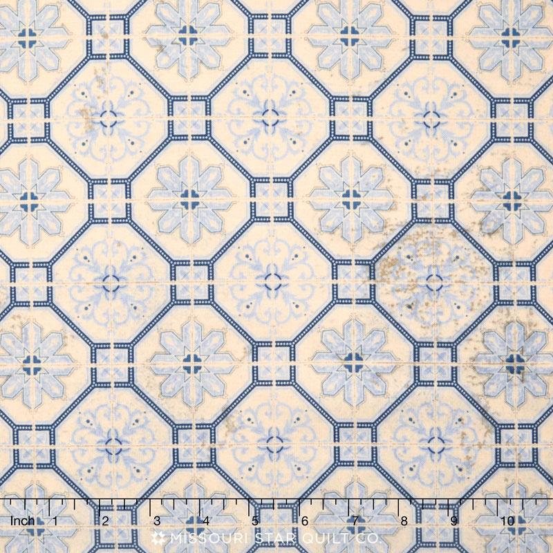Eclectic Elements - Wallflower Mosaic Blue Yardage