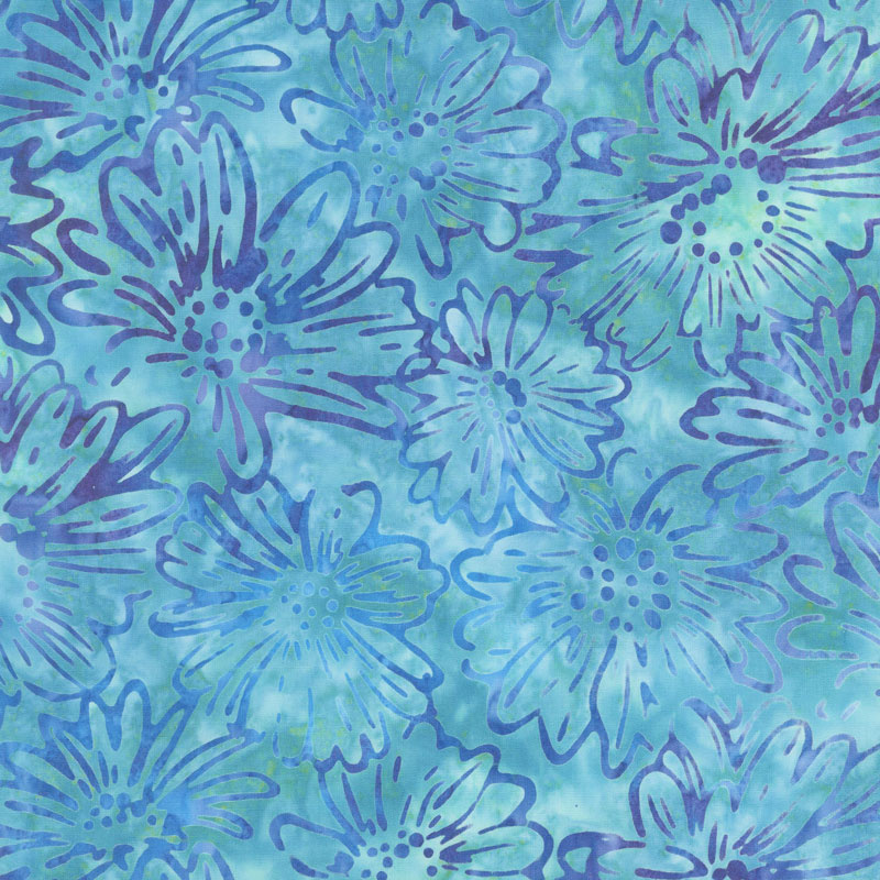 Artisan Batiks - Bright Blooms Flowers Water Yardage