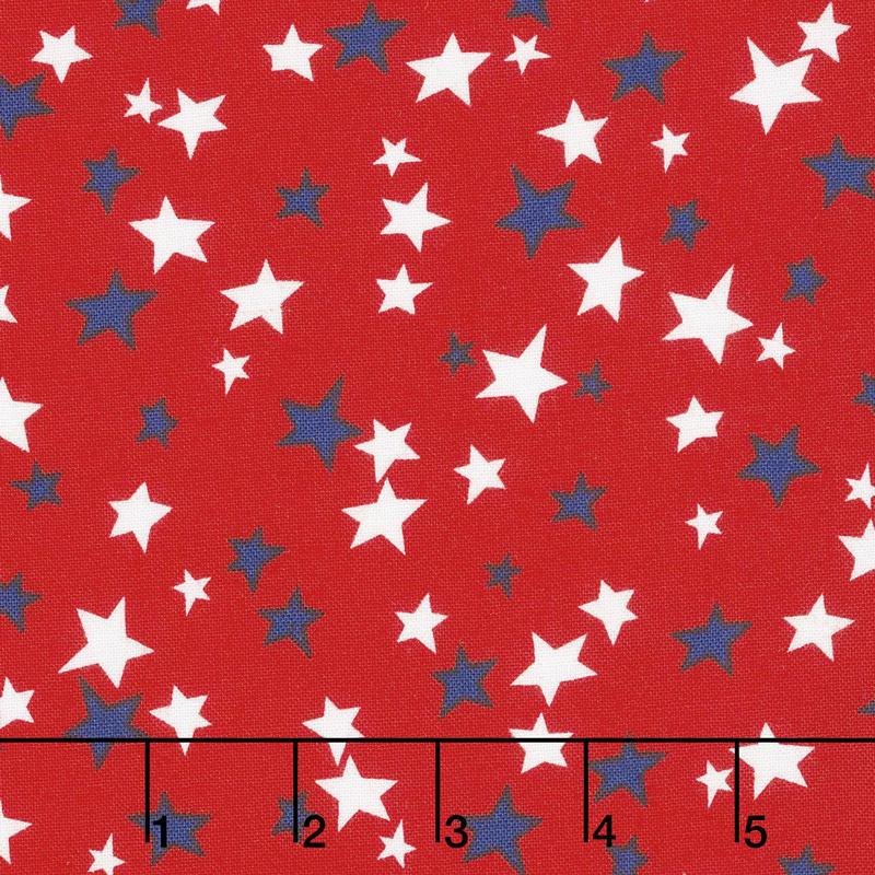 Patriotic Parade - Small Stars Red Yardage