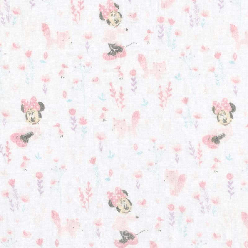 Cotton Muslin Double Gauze - Little Fox Minnie Pink Yardage