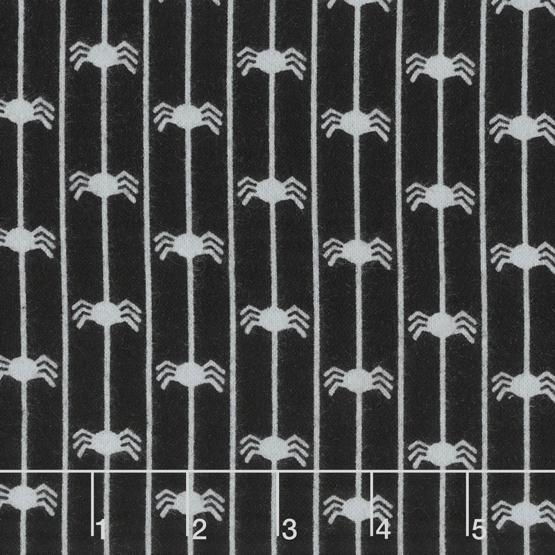 Happy Jacks & Friends - Spider Stripe Black Flannel Yardage