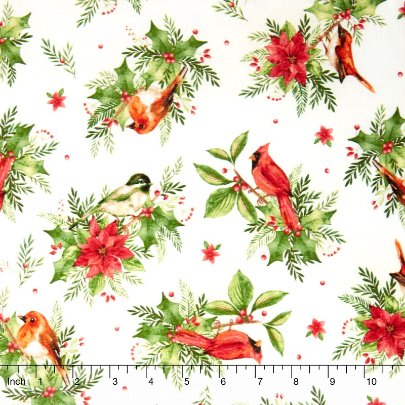Songbird Christmas - Songbirds Natural Yardage