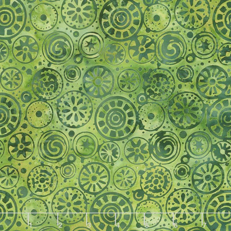 River Valley Batiks - Circles Green Blue Yardage
