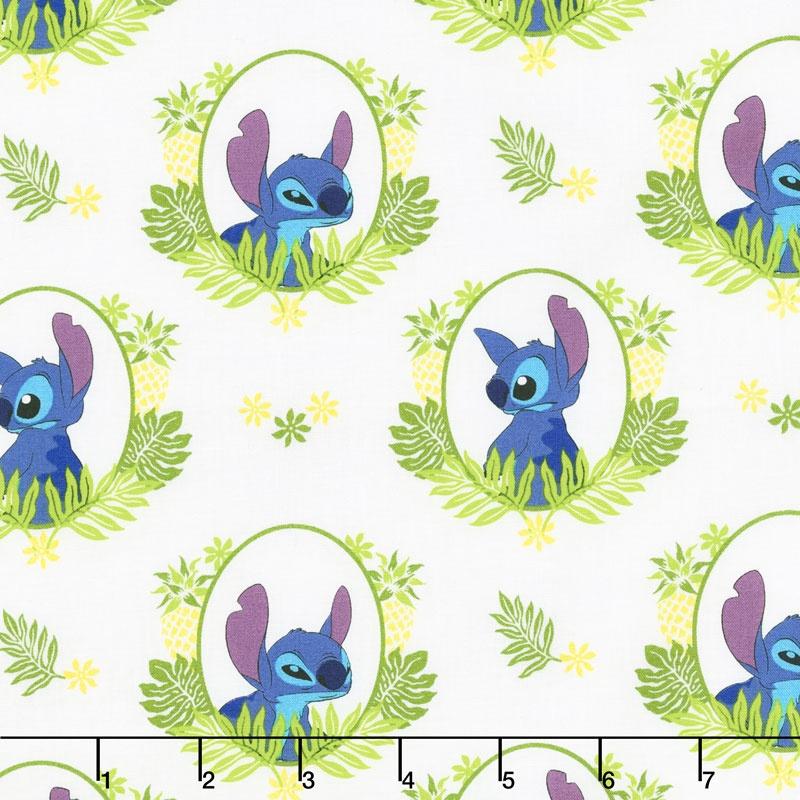 Lilo Stitch Tropical Frame White Yardage Camelot Design Studio