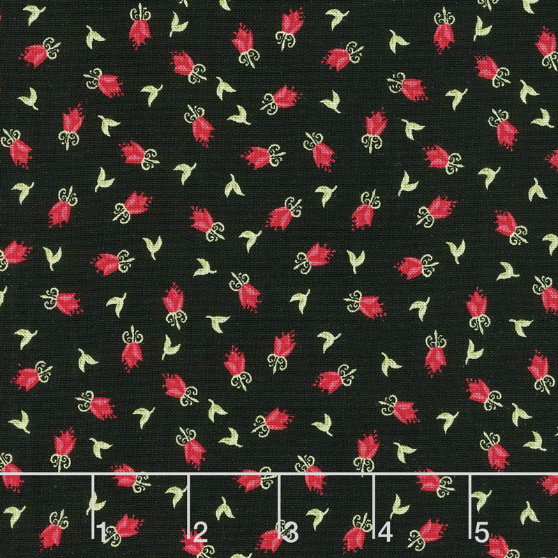 Home Again - Flower Black Yardage