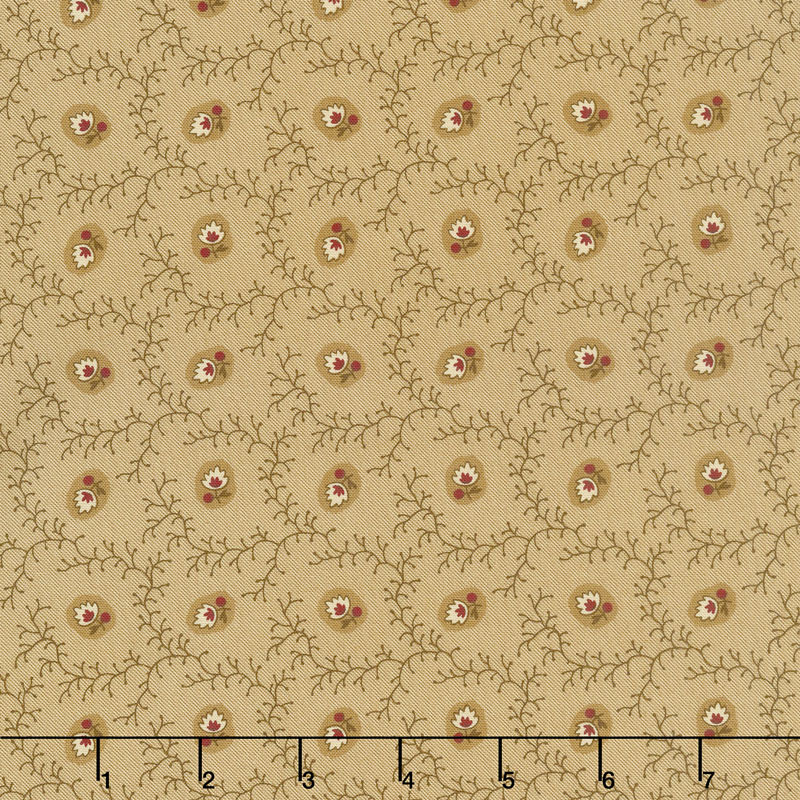 New Hope - Viney Floral Light Tan Yardage