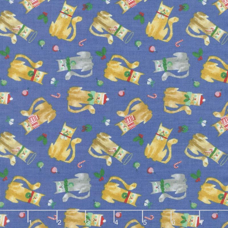 Make Merry - Christmas Cats Blue Yardage