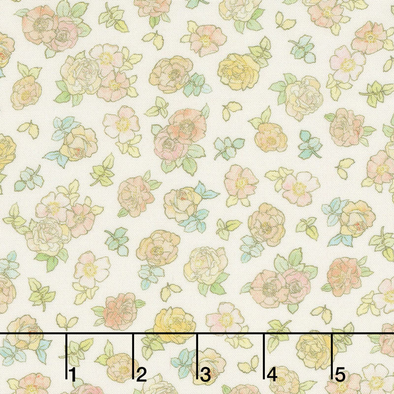 Alphonse Mucha - Flowers Ivory Digitally Printed Yardage