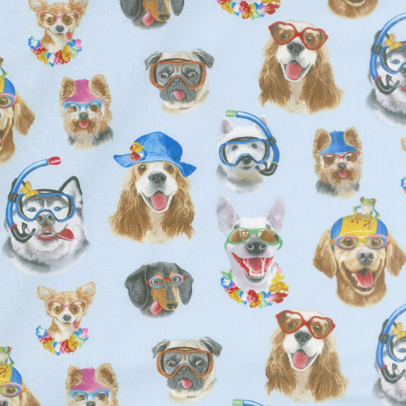 Animals - Beach Selfies Dogs Blue Yardage