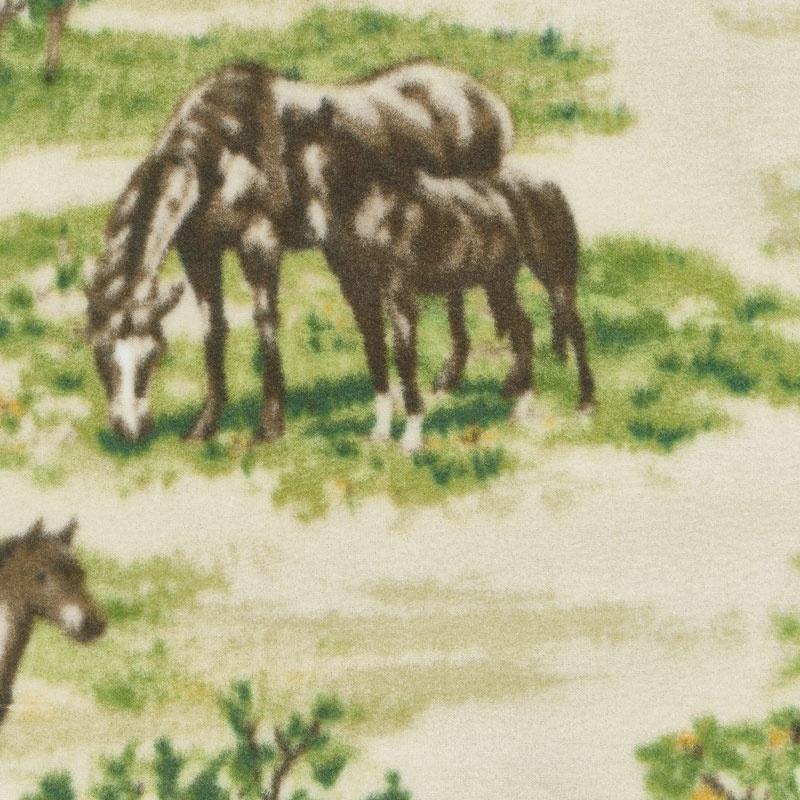 Winterfleece Prints Animals - Horse Farm Multi Fleece Yardage