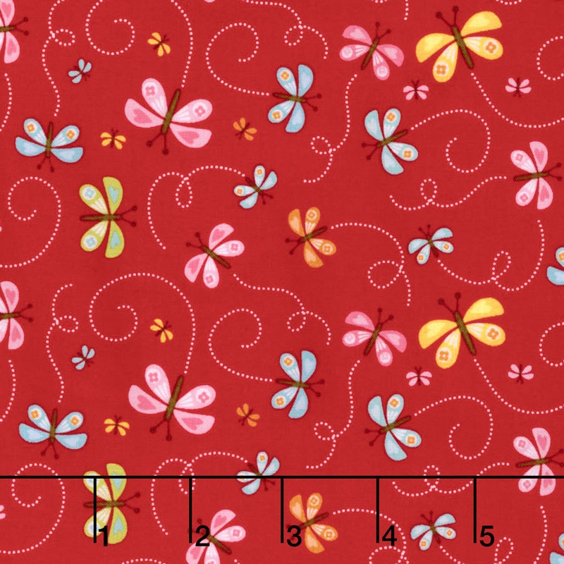 Happy Day - Happy Butterflies Red Yardage