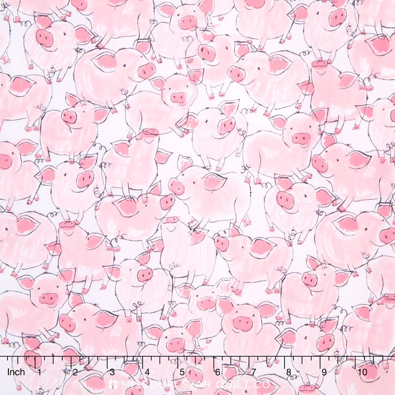 Babes in Farmland - Pigs Pink Yardage