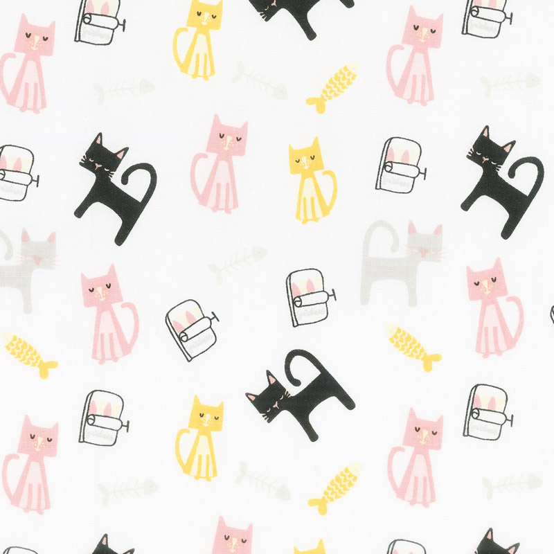 Meow and Forever - Cats White Yardage