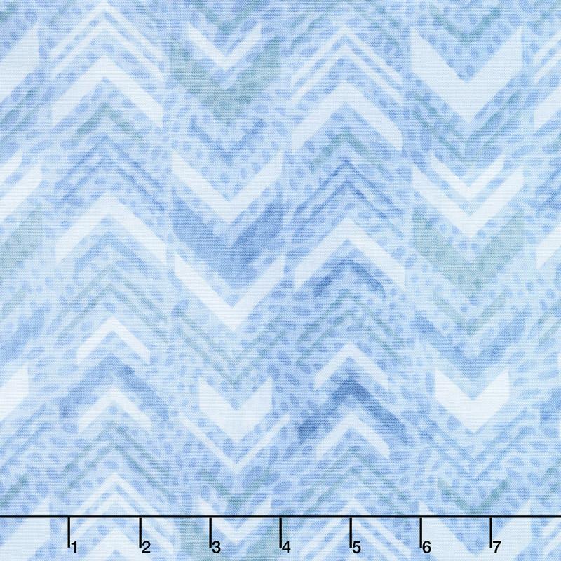 Tessellations - Broken Chevron Light Blue Yardage