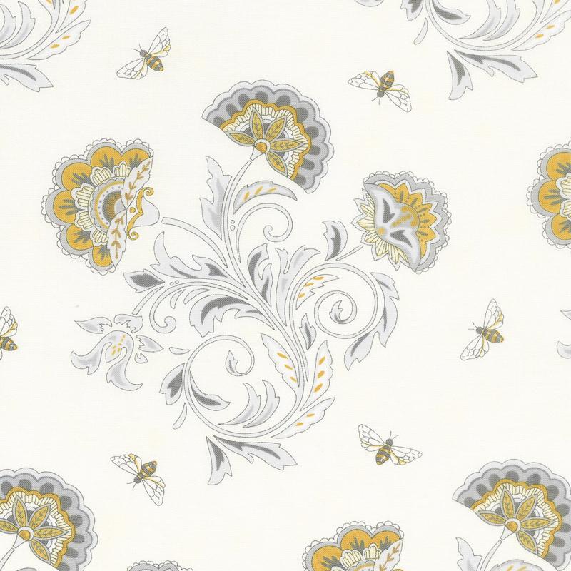 Bee Joyful - Bee's & Blooms Laurel White Yardage