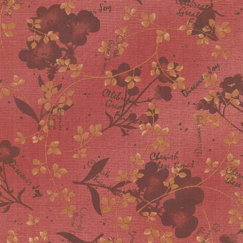 Tickled Pink - Natural Silhouette Red Yardage