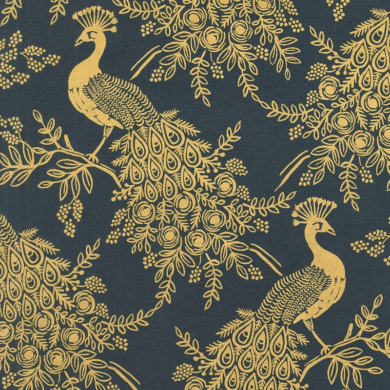 Menagerie - Royal Peacock Navy Linen Canvas Yardage