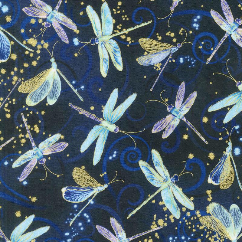 Dragonfly Dance - Blue Dancing Dragonflies Navy Metallic Yardage