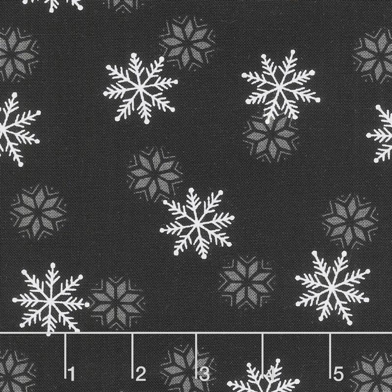 Holiday Lodge - Snowfall Charcoal Yardage