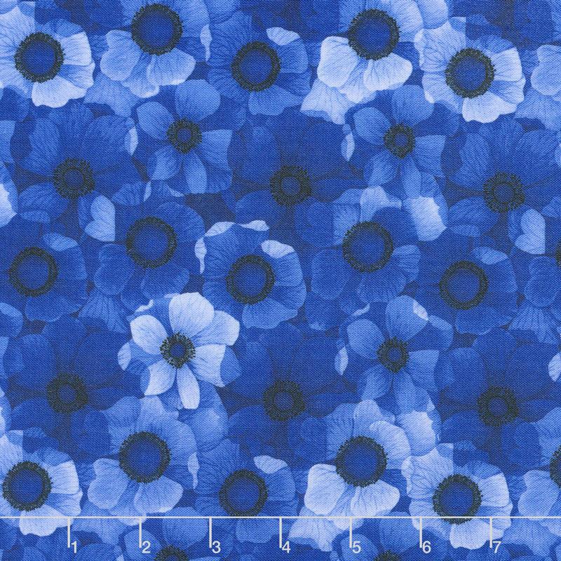 Misty - Packed Flowers Royal Digitally Printed Yardage