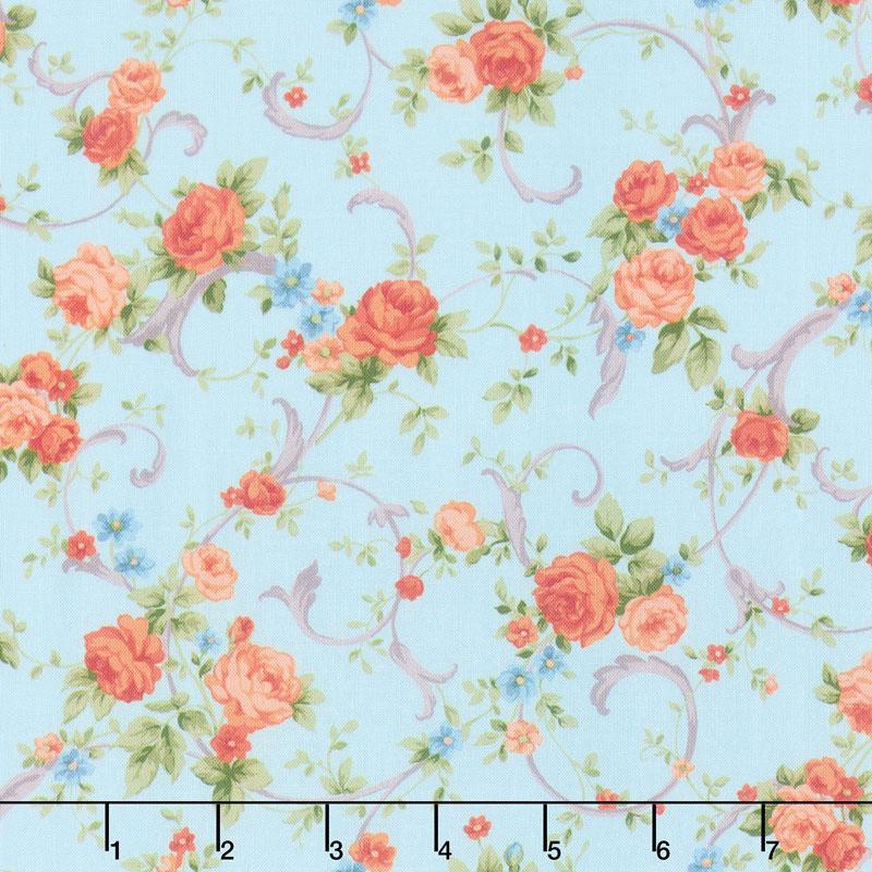 Cassandra - Swirling Flowers Sky Yardage
