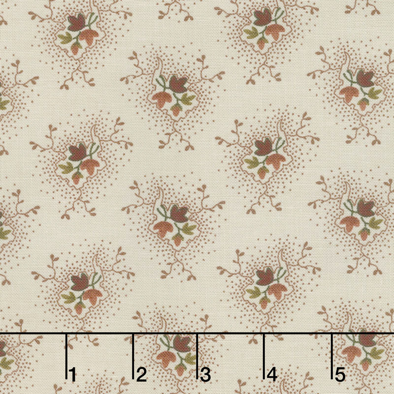 Buttermilk Blossoms - Bud & Leaf Spray Taupe Yardage
