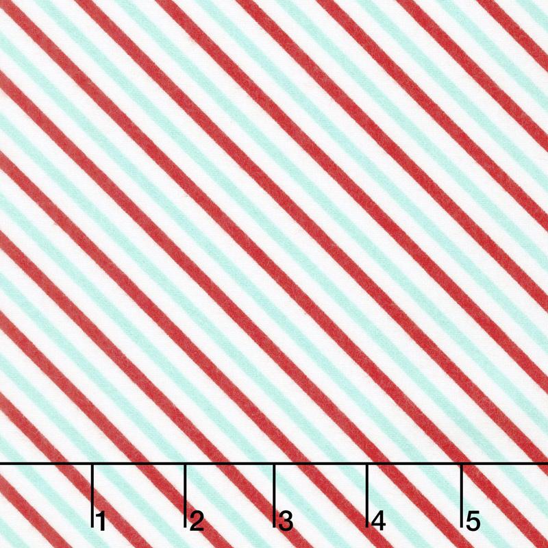 Vintage Holiday - Bias Candy Stripe Aqua Red Flannel Yardage