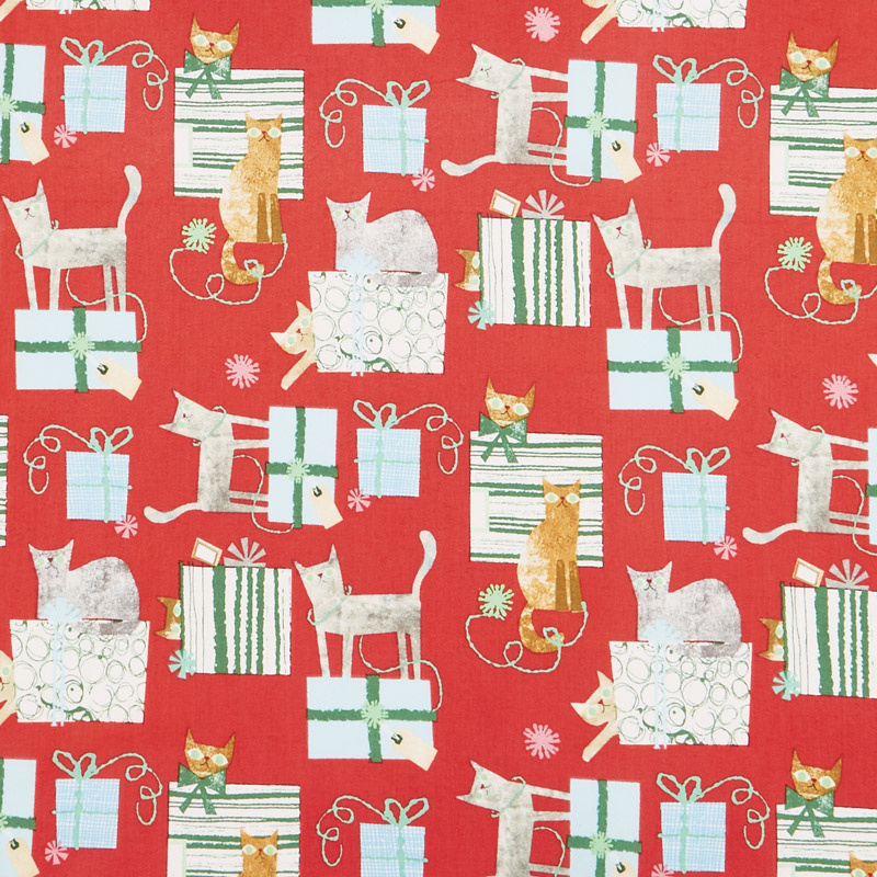 Make Merry - Gift Wrapped Cats Red Yardage