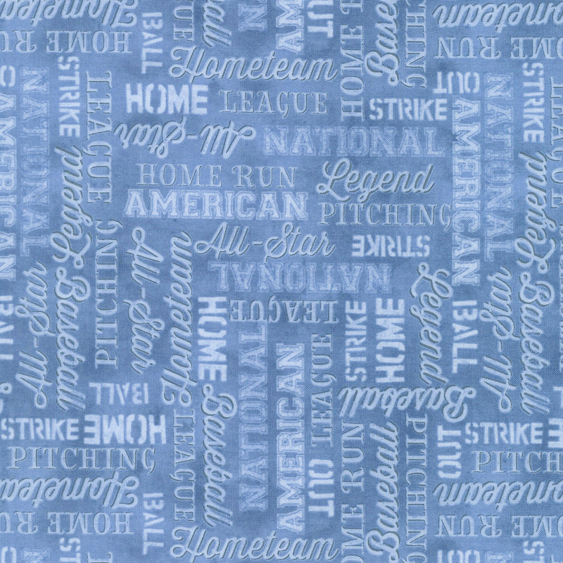7th Inning Stretch - Words Allover Blue Yardage