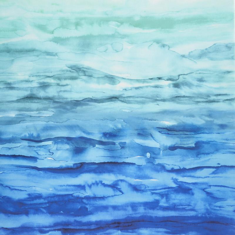 Gradients Blue Watercolor Waves Blues Greens Digitally Printed