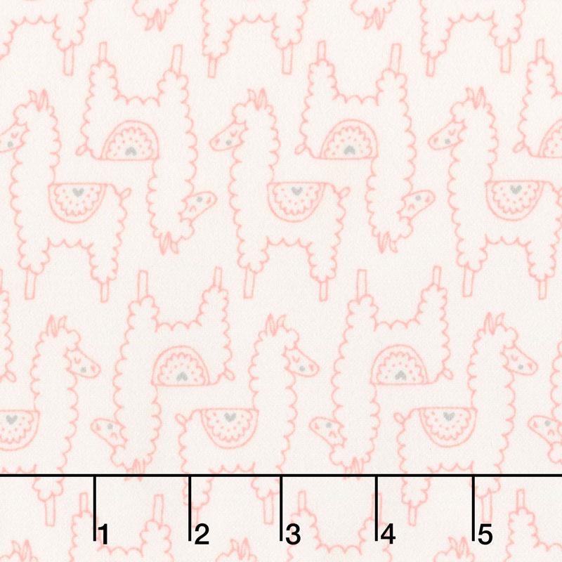 Soft & Sweet - Pink Llama Llama Love Cream Flannel Yardage