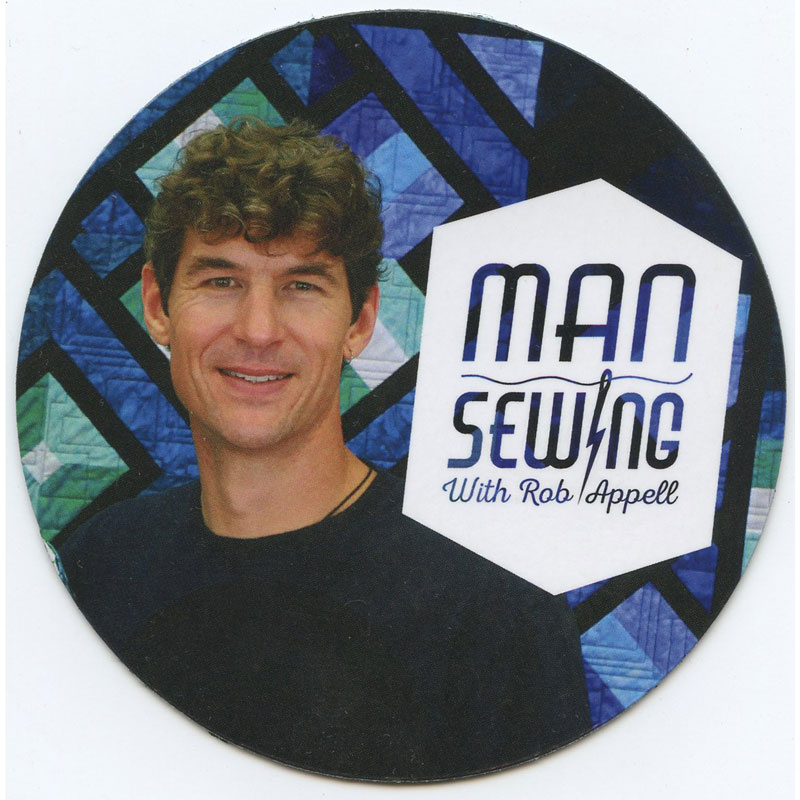 Man Sewing Magnet - Rob Appell with Quilt