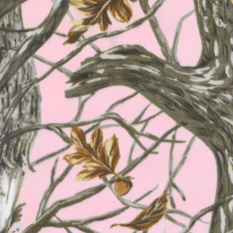 Winterfleece Prints Outdoors - Winter Camo Pink Fleece Yardage