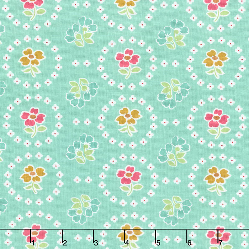 Granny Chic - Curtains Teal Yardage