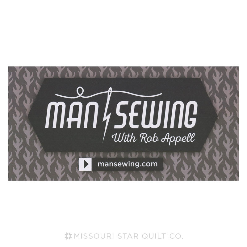Man Sewing White Vinyl Bumper Sticker