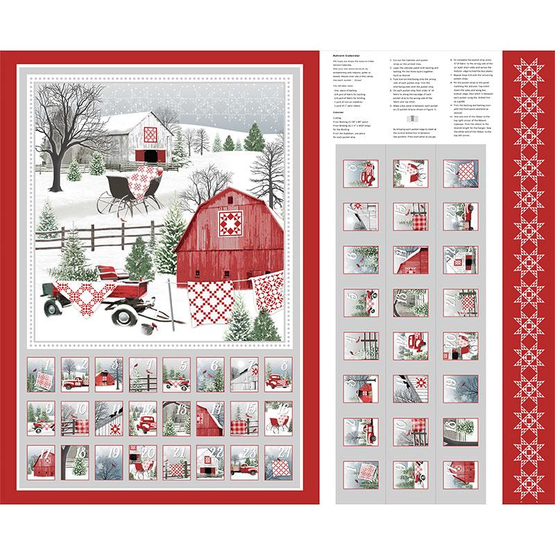 Holiday Heartland - Advent Calendar Gray Red Panel