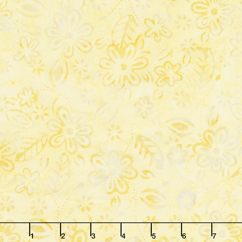 Queen Bee Batiks - Small Floral Yellow Yardage