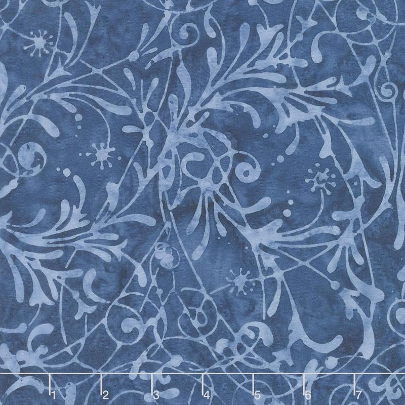 Baker's Dozen Batiks - Scroll Midnight Blue Yardage