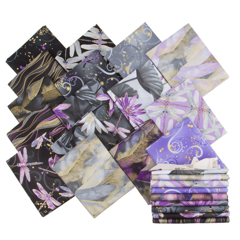 Dragonfly Dance Purple Metallic Fat Quarter Bundle