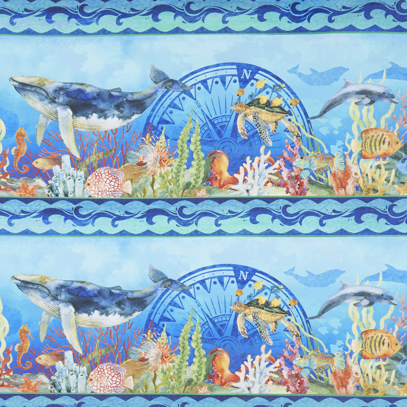 Calypso - Border Stripe Blue Digitally Printed Yardage