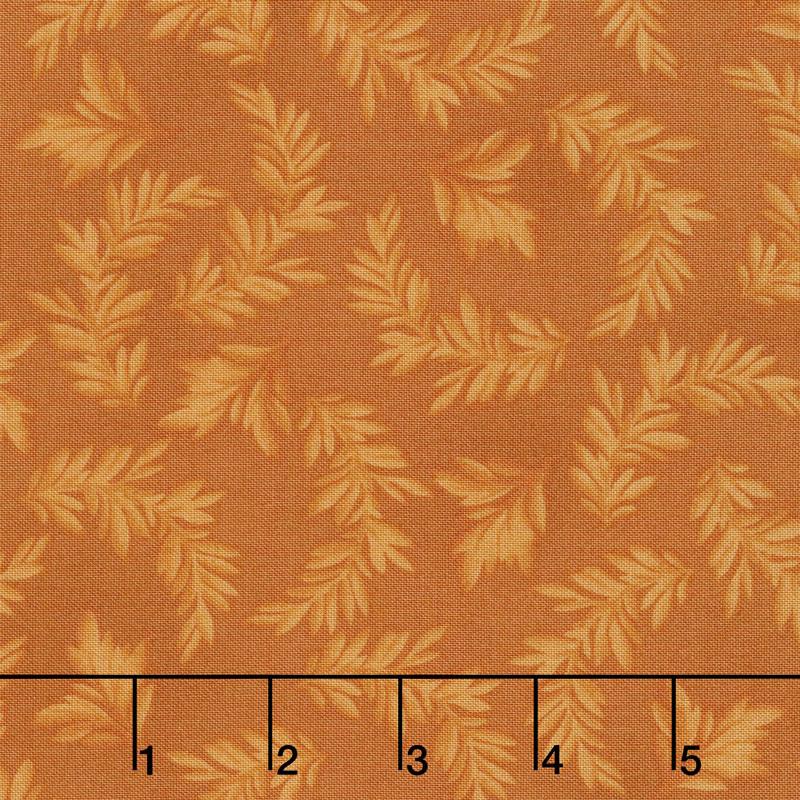 A Fruitful Life - Tonal Leaves Orange Yardage