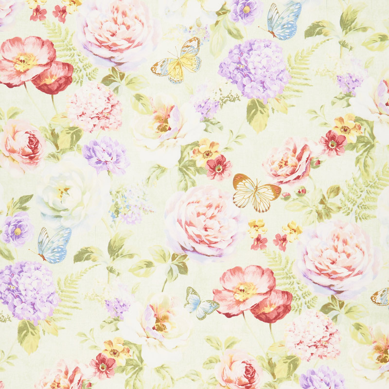 Butterfly Haven - Large Floral Green Yardage