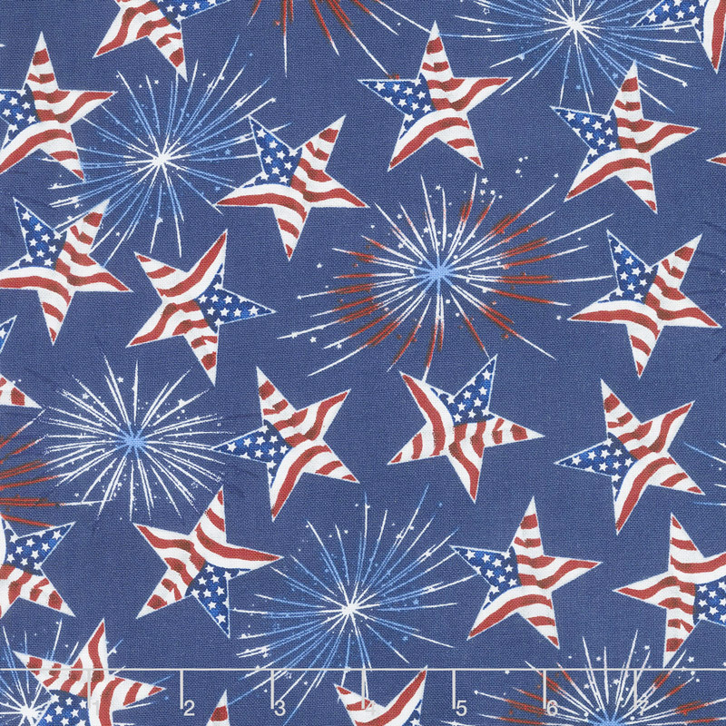 America Home of the Brave - Tossed Stars Navy Yardage