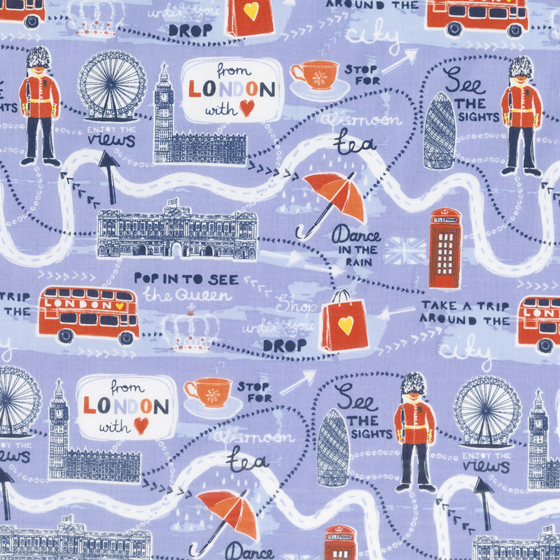 London Landmarks Map.From London With Love Map Lavender Yardage