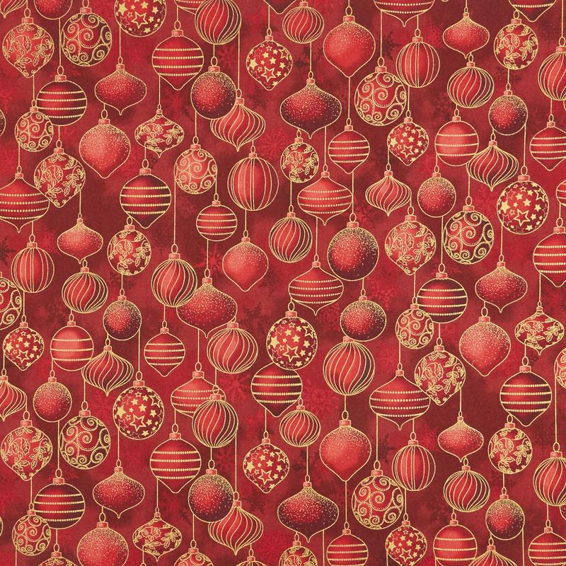 Winter's Grandeur 7 - Holiday Ornaments Red Metallic Yardage