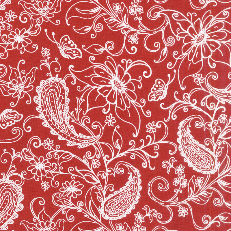 Scarlet Romance - Focal Floral with Paisley White on Red Yardage